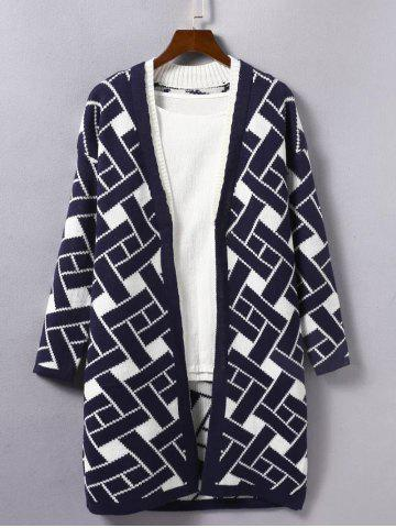 Latest Geometric Print Loose Knitted Cardigan DEEP BLUE ONE SIZE