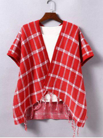 Affordable Fringed Plaid Collarless Cape Cardigan