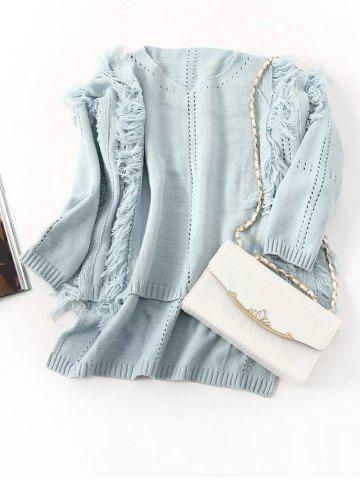 Best Fringed High Low Hem Openwork Sweater