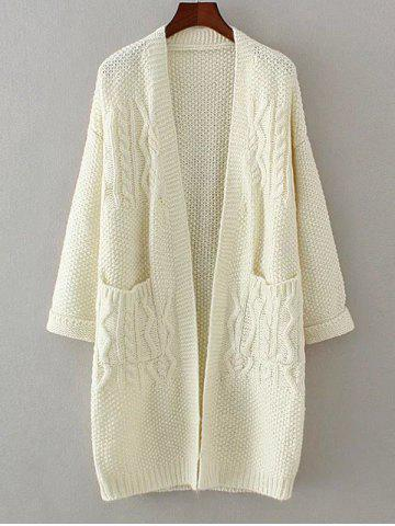 Sale Textured Double Pockets Long Open Front Cardigan OFF WHITE ONE SIZE