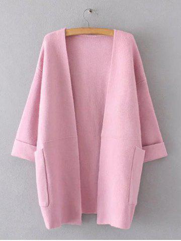 Outfits Hemming Sleeves Double Pockets Long Knit Cardigan PINK ONE SIZE