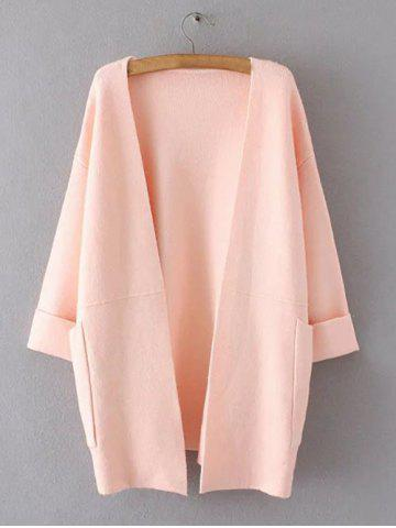 Unique Hemming Sleeves Double Pockets Long Knit Cardigan