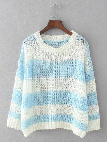 Latest Striped Openwork Pullover Knitwear