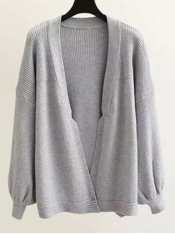 Sale Textured Puff Sleeves Knitted Cardigan