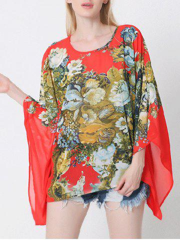 Chic Floral Batwing Sleeve Cape Blouse
