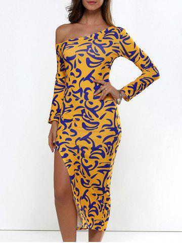Long Sleeve Printed Slit Midi Bodycon Dress - Ginger - One Size