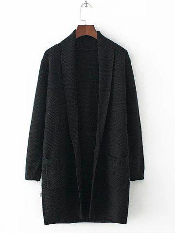 Best Long Sleeve Double Pockets Textured Long Knit Cardigan