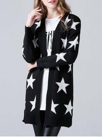 Cheap Collarless Star Print Knitted Cardigan