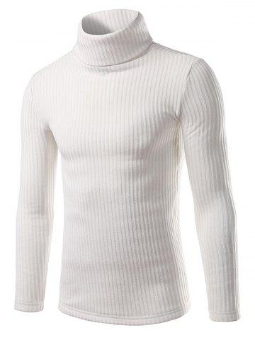 Online Turtle Neck Vertical Rib Long Sleeve Sweater WHITE XL