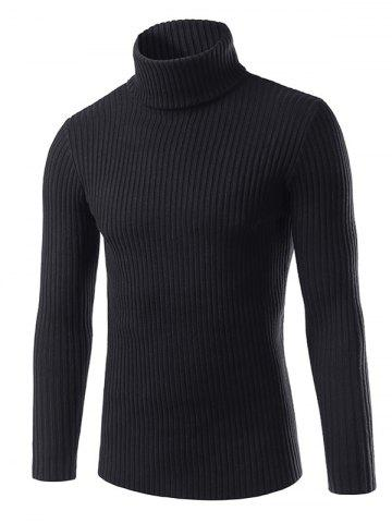 Turtle Neck Vertical Whorl Long Sleeve Sweater