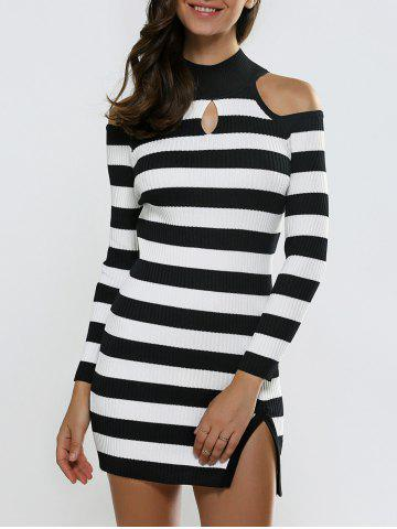 New Keyhole Open Shoulder Slit Stripe Sweater Dress BLACK ONE SIZE