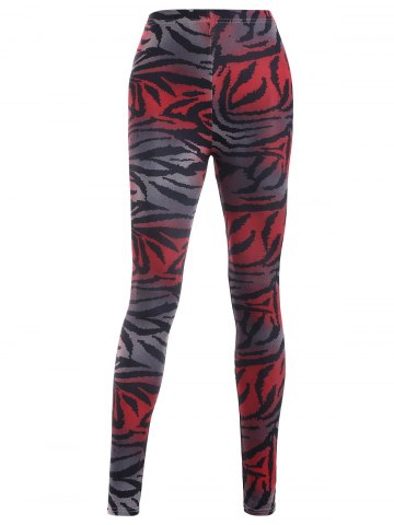 Latest Elastic Waist Leopard Print Slimming Leggings RED ONE SIZE