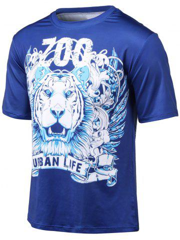 New Plus Size Round Neck Tiger and Letter Print Short Sleeve T-Shirt BLUE 4XL
