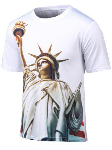 Affordable Plus Size Round Neck 3D Statue of Liberty Print Short Sleeve T-Shirt WHITE 4XL