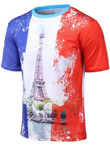 Best Plus Size Round Neck 3D Watercolor Iron Tower Print Short Sleeve T-Shirt COLORMIX 4XL
