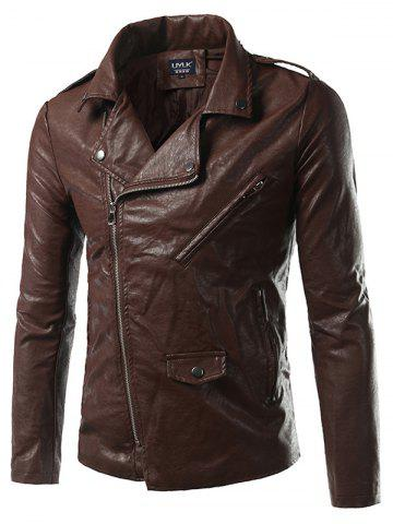 Outfit Plus Size Epaulet Design PU-Leather Turn-Down Collar Zip-Up Jacket BROWN 5XL