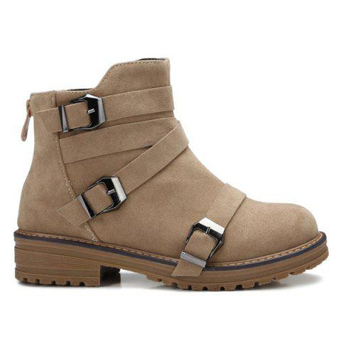 Affordable Buckles Cross Straps Zipper Ankle Boots