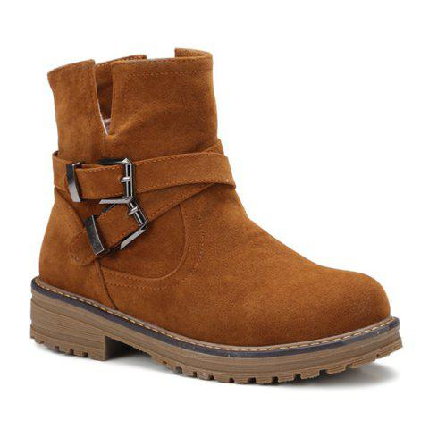 Store Cross Straps Double Buckle Suede Short Boots BROWN 38
