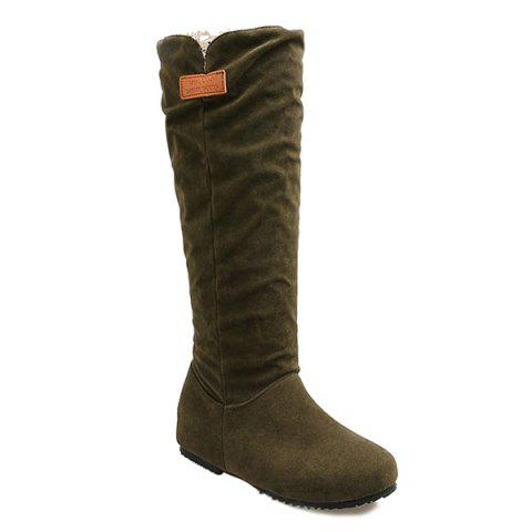 Sale Suede Hidden Wedge Mid Calf Boots ARMY GREEN 39