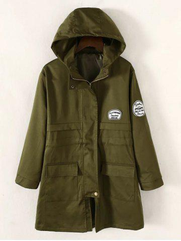 Store Twin Pockets Applique Drawstring Anorak Hooded Coat ARMY GREEN 4XL