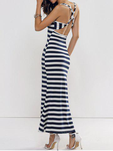 Best Backless Club Criss Cross Stripe Jersey Maxi Dress BLUE AND WHITE L