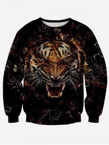 Discount Round Neck Long Sleeve 3D Tiger Print Sweatshirt BLACK XL