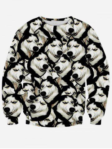 Fashion Long Sleeve Round Neck 3D Animal Print Sweatshirt BLACK XL