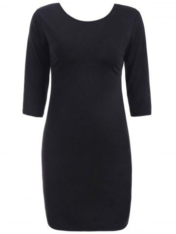 Discount Cut Out Bodycon Dress BLACK XL