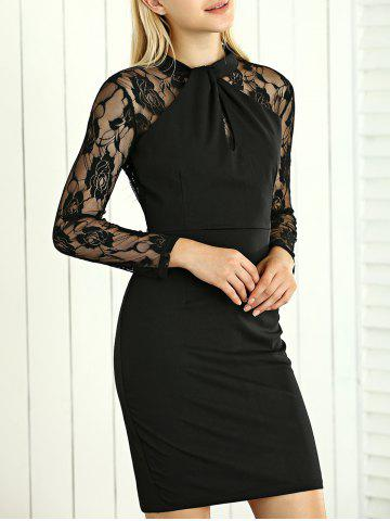 Fancy Lace Panel Short Party Formal Bodycon Dress