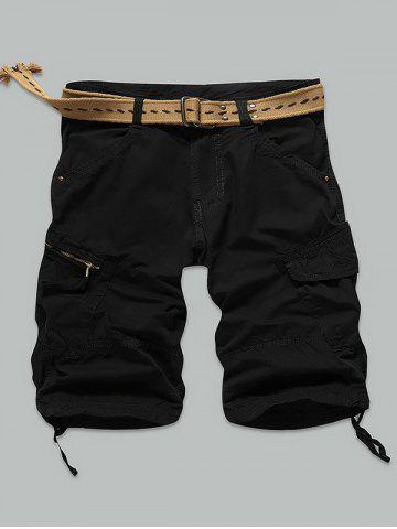 Pocket Rivet Zippered Knee Length Cargo Shorts - BLACK 36