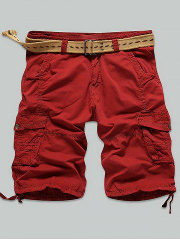 Multi Stitch Snap Button Pockets Zipper Fly Cargo Shorts - RED 38