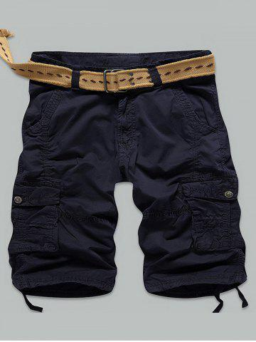 Sale Multi Stitch Snap Button Pockets Zipper Fly Cargo Shorts - 36 DEEP BLUE Mobile