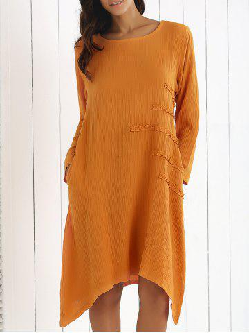 Buy Long Sleeve Asymmetrical Ruffle Dress with Pockets