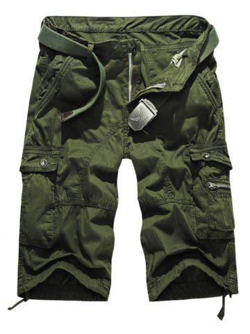 Trendy Snap Button Multi-Pocket Zippered Casual Cargo Shorts