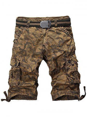 Latest Camo Zipper Fly Drawstring Hem Cargo Shorts