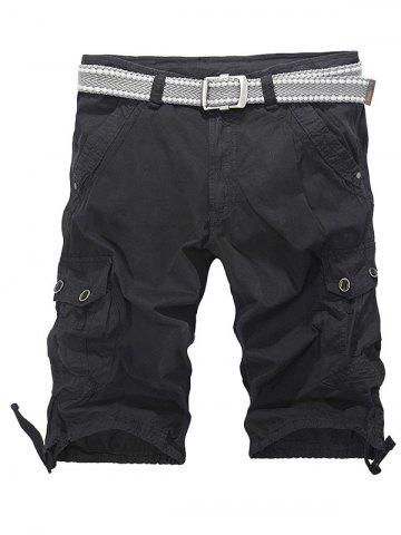 Trendy Loose-Fitting Zipper Fly Drawstring Hem Cargo Shorts BLACK 36
