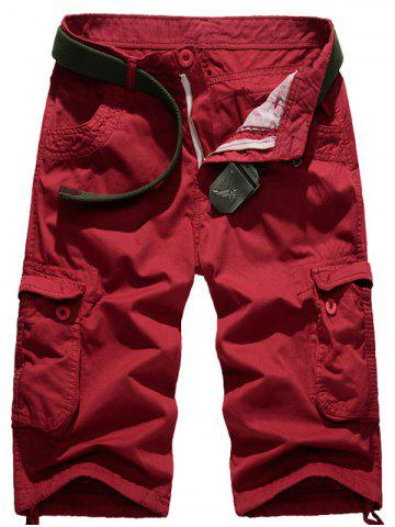 Buy Multi-Pocket Straight Leg Zipper Fly Cargo Shorts