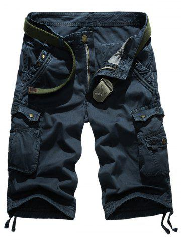 Latest Snap Button Multi-Pocket Straight Leg Zipper Fly Cargo Shorts