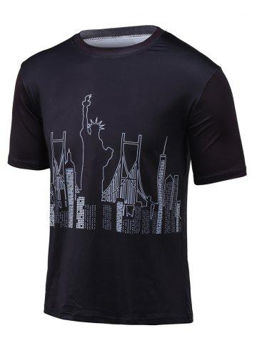 New Round Neck Statue of Liberty Printed T-Shirt BLACK 3XL