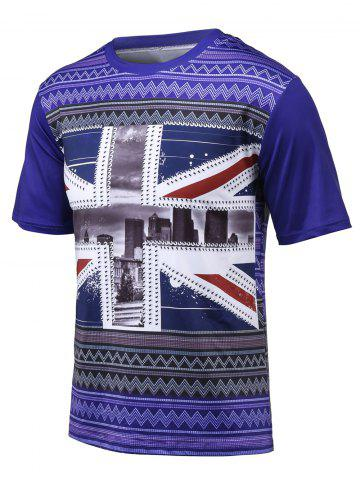 Discount 3D Scenery Printed Chevron Striped T-Shirt BLUISH VIOLET 4XL