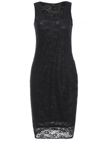 Discount Openwork Lace Knee Length Sheath Dress BLACK S