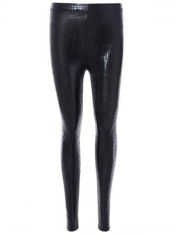 Outfit Elastic Snake Embossed Pants BLACK ONE SIZE