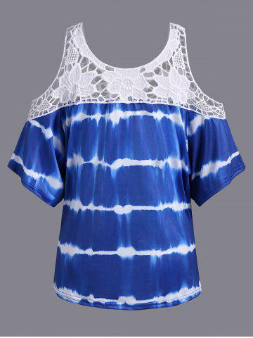 Fancy Plus Size Cold Shoulder Lace Insert Print T-Shirt