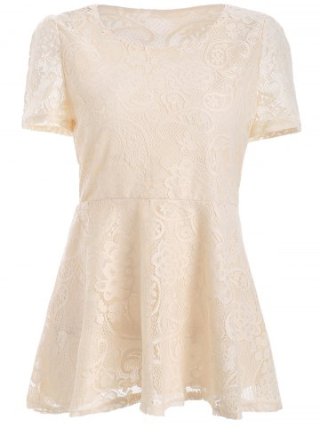Fashion Short Sleeve Lace Blouse