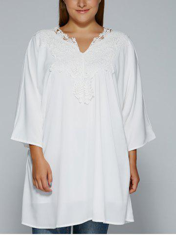 Buy Plus Size Crochet Lace Splicing Loose-Fitting Blouse WHITE 5XL