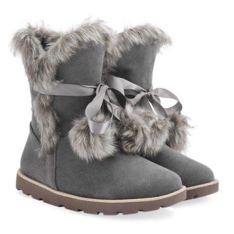 Discount Lace Up Hairball Fuax Fur Flat Snow Boots GRAY 37