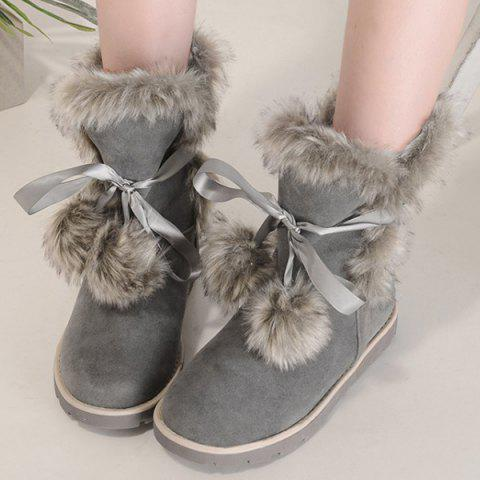 Outfits Lace Up Hairball Fuax Fur Flat Snow Boots - 37 GRAY Mobile