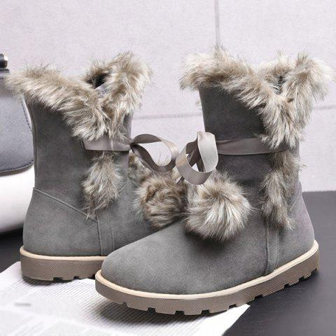 Fancy Lace Up Hairball Fuax Fur Flat Snow Boots - 37 GRAY Mobile