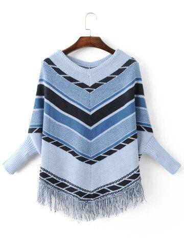 Unique Chervon  Loose Dolman Sleeve Fringe Sweater