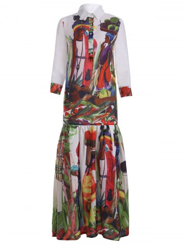 Fashion Buttoned Abstract Print Spliced Dress